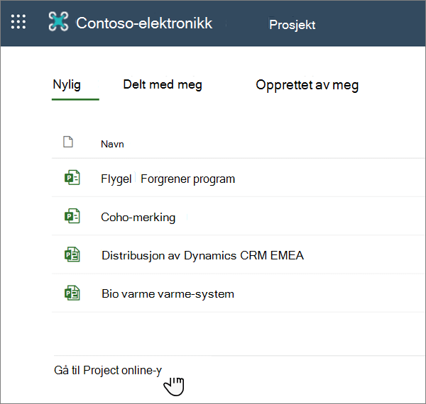 Alternativet gå til Project Web App i Project