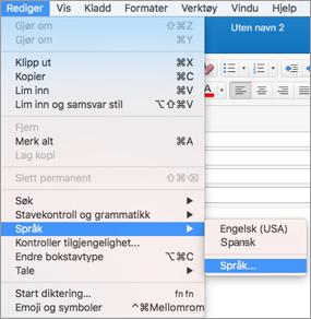Outlook 2016 for Mac – Menyen Rediger > Språk