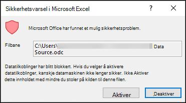 Sikkerhets varsel i Microsoft Excel – angir at Excel har identifisert et potensielt sikkerhets problem. Velg Aktiver hvis du stoler på kilde fil plasseringen, kan du deaktivere hvis du ikke har det.