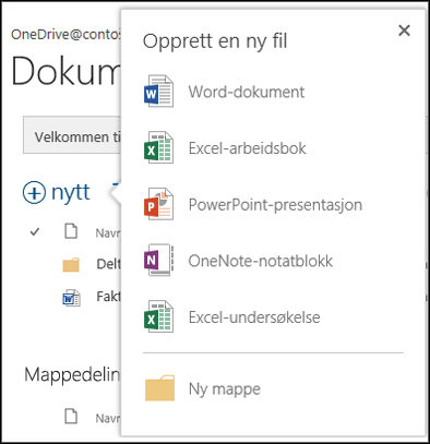 Office Online-alternativer som du kan bruke fra Ny-knappen i OneDrive for Business