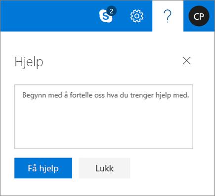 Et skjermbilde viser dialogboksen hjelp der du kan angi informasjon om et problem, og velg deretter få hjelp-knappen.
