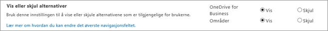 Delen av innstillinger for SharePoint-administratoren SPO Vis/skjul-alternativer
