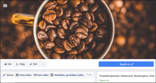 Microsoft Bookings ikonet når du har koblet til Facebook-siden.