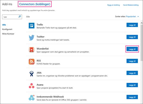 Et skjermbilde av tilgjengelige tilkoblede tjenester i Outlook 2016