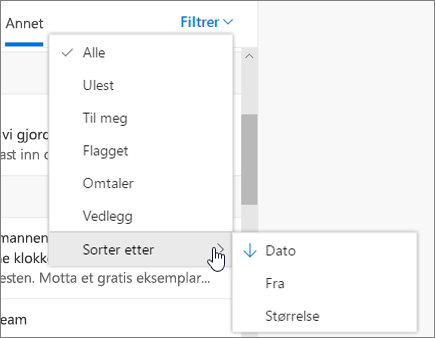 Filtrere e-post i Outlook på nettet