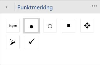 Skjermbilde av Punkt-menyen for å velge punktstilen i Word Mobile.