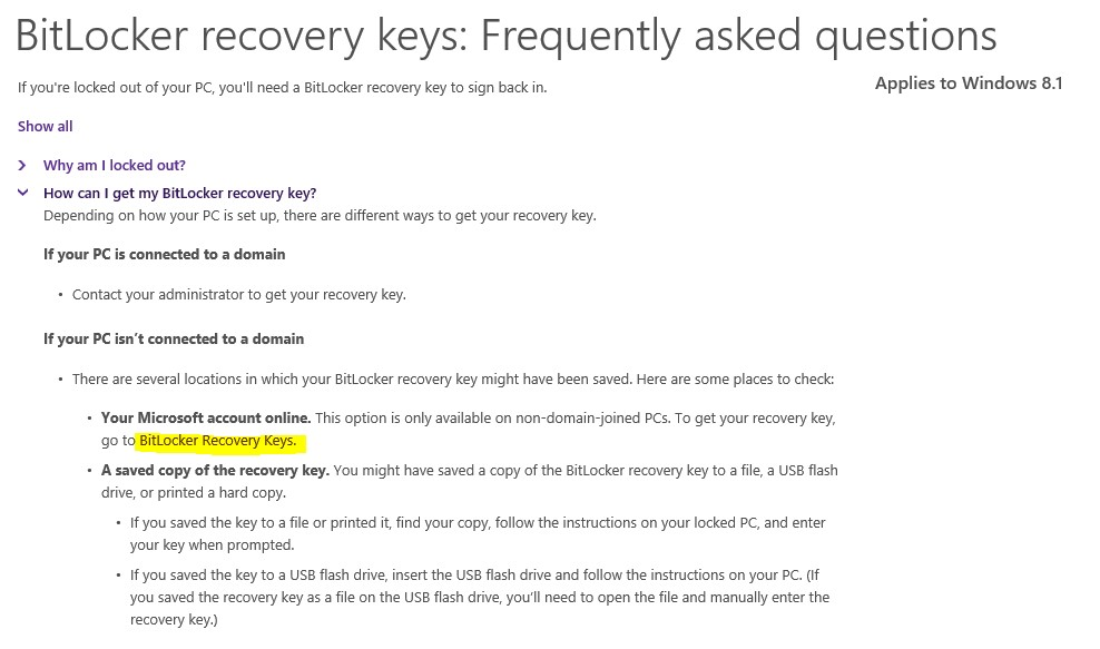 Screen shot of BitLocker recovery key: FAQ