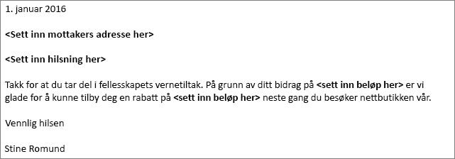 Eksempel på bokstav i Word til Bel som brukes i en utskrifts fletting.