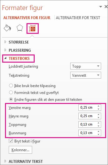 Alternativer i Tekstboks i ruten Formater figur