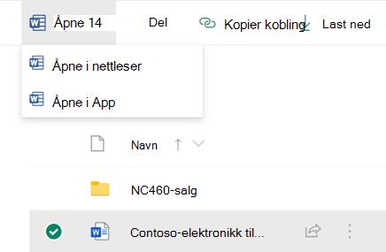 Du kan åpne en fil i nettleseren eller i en Office-app på en stasjonær datamaskin.
