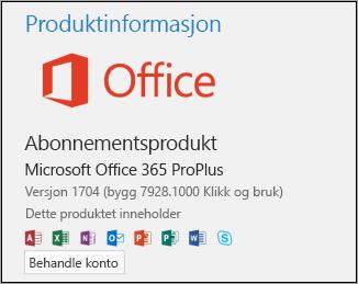 Versjon og byggnummer under Produktinformasjon.