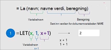 LET-funksjonen i Excel