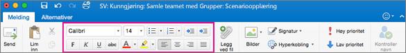 Formateringsalternativene på båndet i Outlook for Mac