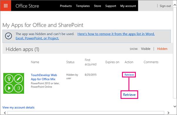 Viser Hent kobling på nettstedet Apper for Office og SharePoint