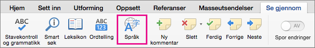 Klikk Språk på Se gjennom-fanen for å angi språket for den valgte teksten.