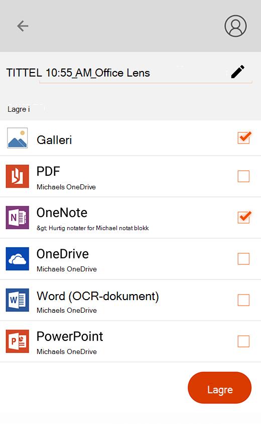 Eksport alternativer i Office Lens for Android