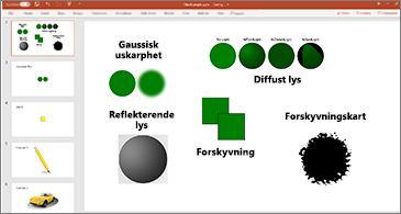 Lysbilde med eksempler på SVG-filtre