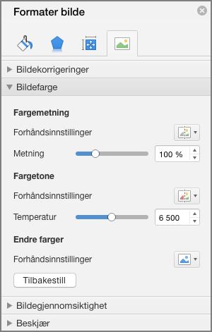 Juster metningen fargeinnstillinger i ruten formateringsbilde