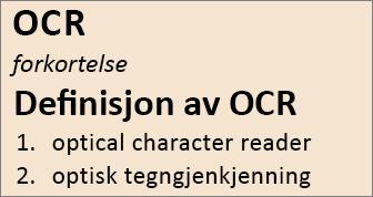 Oversikt over OCR