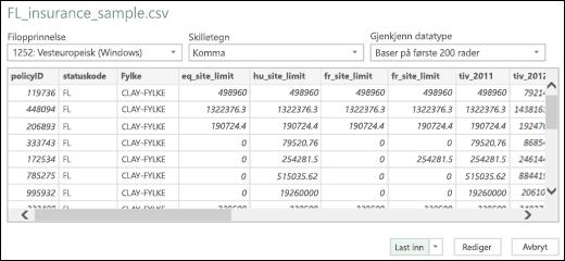 Excel Power BI forbedret dialogboks for tekst/SCV-kobling