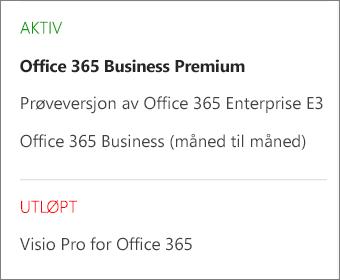 Abonnementsiden i administrasjonssenteret for Office 365 som viser en liste over flere abonnementer gruppert etter status.