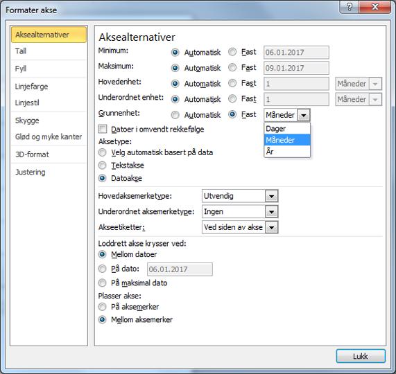 Dialogboksen for Formater akse med fast grunnenheten som er valgt