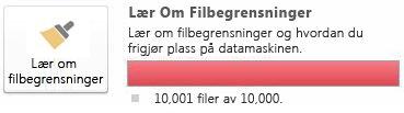 Dokumentmåler i SharePoint Workspace ved bruk av 10000 dokumenter eller flere