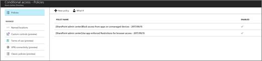Når du oppretter to policyer i Azure AD administrasjonssenteret for å begrense tilgang
