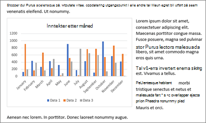 Sette inn et diagram i din Word documement med Kopier og Lim inn