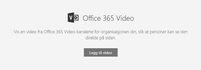Skjermbilde av dialogboksen Legg til Office 365-video i SharePoint.