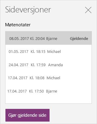 Sidevisningsrute som viser flere versjoner av en side.