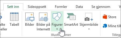 Knappen Sett inn figurer i Excel