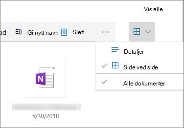 Side ved side-visning i et dokumentbibliotek