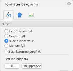 Alternativet Bildefyll i Formater bakgrunn-ruten
