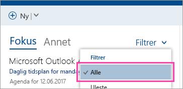 Et skjermbilde av Filter-knappen med Alt merket