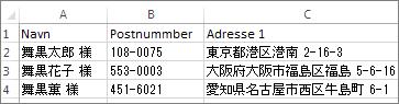 Adresseliste med gyldige japanske adresser