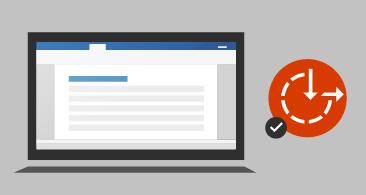 Dataskjerm med dokument til venstre og visualobjekt for tilgjengelighet med et merke til høyre