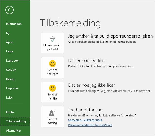 Klikk på Fil > Tilbakemelding for å sende kommentarer eller forslag om Microsoft Project