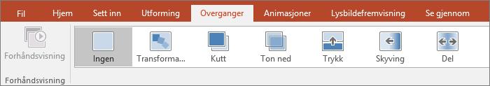 Viser overganger på båndet i PowerPoint