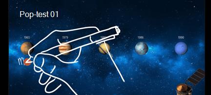 Planeter med ordene mars og Jupiter håndskrevet på lysbildet