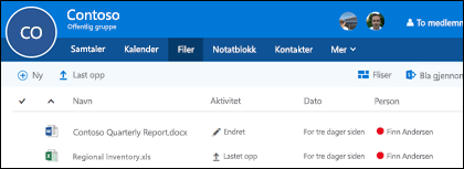 Klikk filer i Office 365-gruppe for å se listen over filer og mapper som er lagret i gruppen