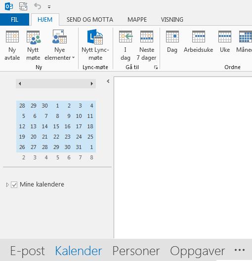 Koblingen for Kalender er nederst på skjermen.