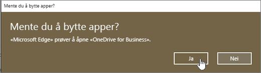 Dialog boksen Bytt app for Windows 10 Edge med Ja uthevet