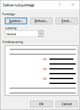 Definer nytt punkttegn skjermen med piler