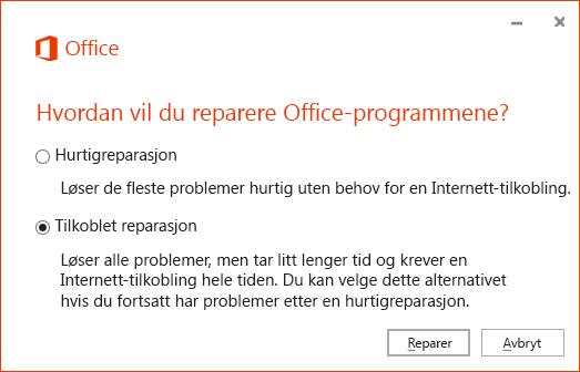Dialogboksen Reparasjon av Office ved reparasjon av OneDrive for Business-synkroniseringsappen