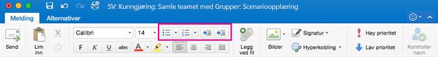 Liste-knappene på båndet i Outlook for Mac