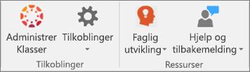 Liste over ikoner inkludert Administrer klasser, Tilkoblinger,