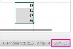 Merk en kolonne med tall for å se summen nederst på siden