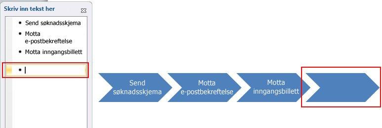 Hvis du vil legge til et annet tekstområde, trykker du på Enter-tasten.