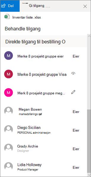 Delen direkte tilgang i ruten behandle tilgang i OneDrive for Business